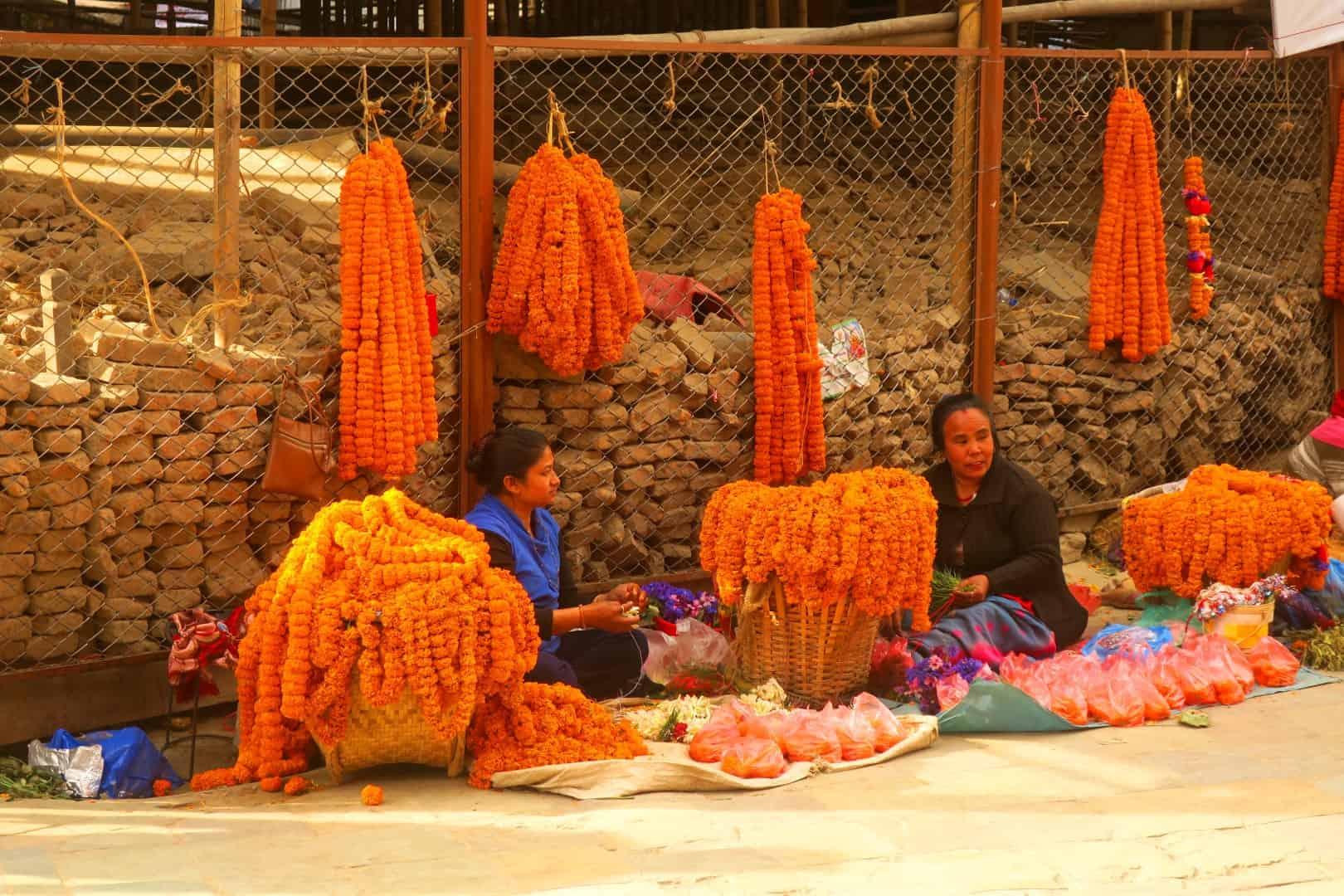 Blumenverkäufer in Kathmandu, Nepal